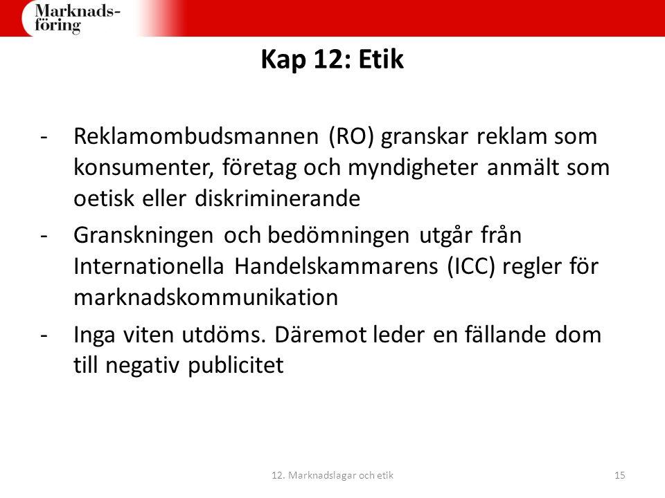 Kap 12: Etik -Reklamombudsmannen (RO) granskar reklam som konsumenter, företag och myndigheter anmält som oetisk eller diskriminerande -Granskningen o