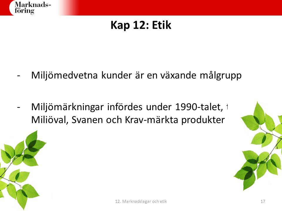 Kap 12: Etik -Miljömedvetna kunder är en växande målgrupp -Miljömärkningar infördes under 1990-talet, tex Bra Miljöval, Svanen och Krav-märkta produkt