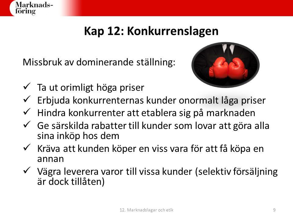 Kap 12: Konkurrenslagen Konkurrensverket (KV) kan vid vite förbjuda företagen att fortsätta sin konkurrensbegränsande verksamhet Stockholms tingsrätt kan utdöma en konkurrensskadeavgift på max 10 % av företagets årsomsättning KV:s och Stockholms tingsrätts beslut kan överklagas till Marknadsdomstolen 12.