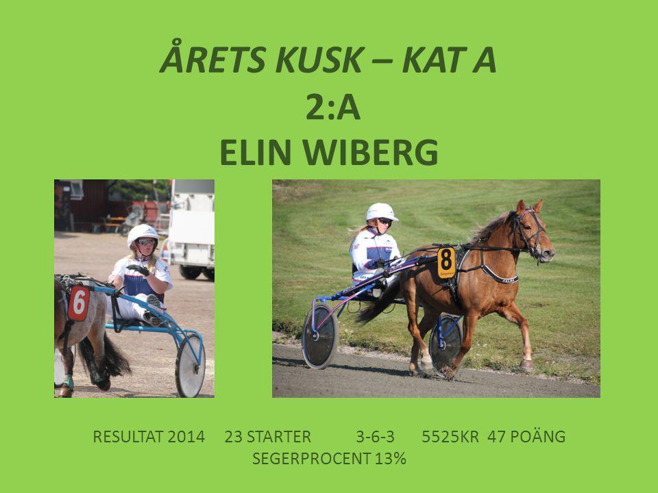 ÅRETS KUSK – KAT A 2:A ELIN WIBERG RESULTAT 201423 STARTER3-6-35525KR47 POÄNG SEGERPROCENT 13%