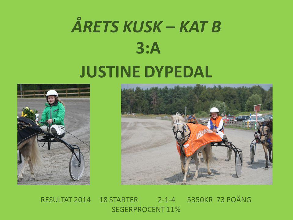 ÅRETS KUSK – KAT B 3:A JUSTINE DYPEDAL RESULTAT 201418 STARTER2-1-45350KR73 POÄNG SEGERPROCENT 11%