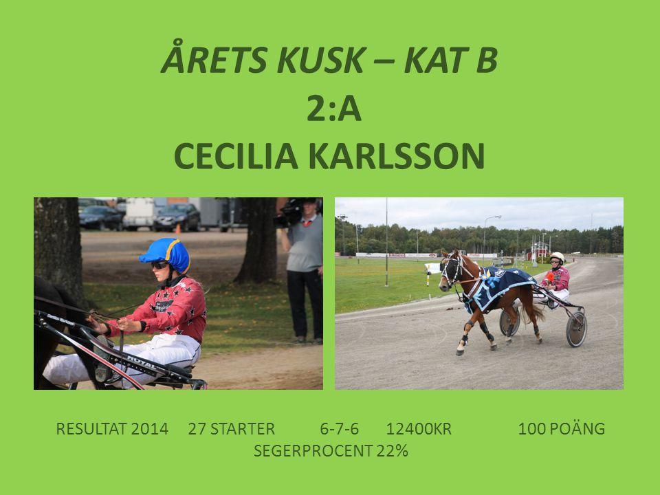 ÅRETS KUSK – KAT B 2:A CECILIA KARLSSON RESULTAT 201427 STARTER6-7-612400KR100 POÄNG SEGERPROCENT 22%