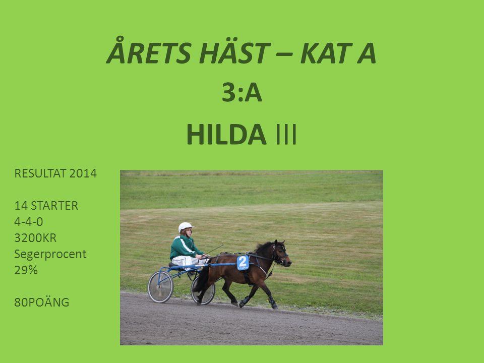 ÅRETS HÄST – KAT A 3:A HILDA III RESULTAT 2014 14 STARTER 4-4-0 3200KR Segerprocent 29% 80POÄNG