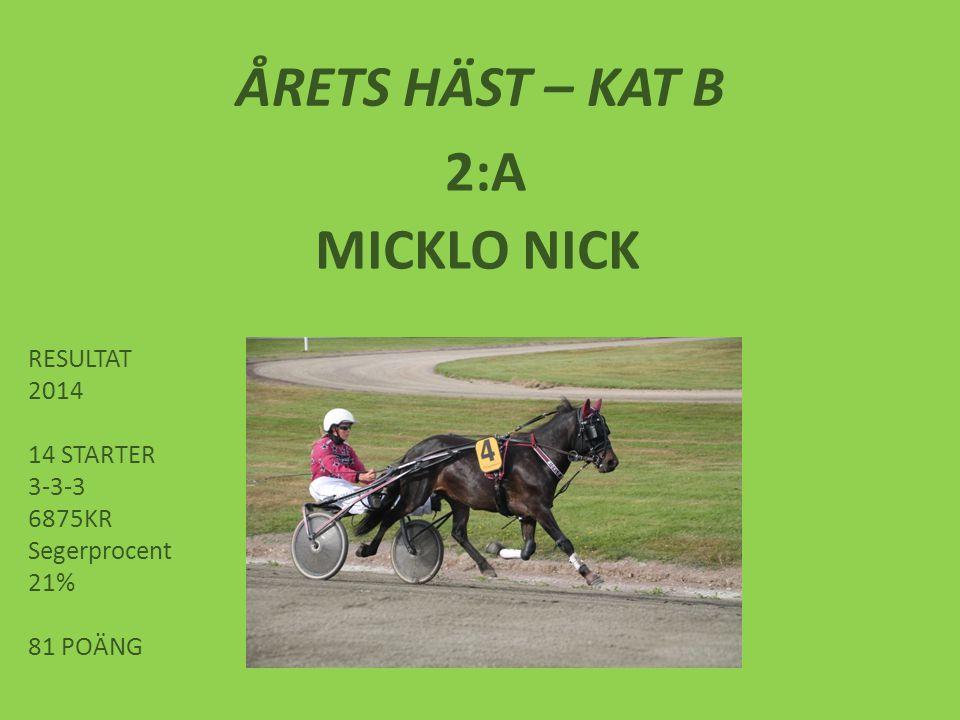 ÅRETS HÄST – KAT B 2:A MICKLO NICK RESULTAT 2014 14 STARTER 3-3-3 6875KR Segerprocent 21% 81 POÄNG