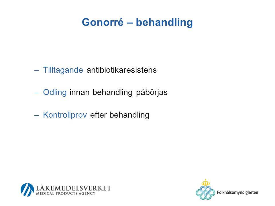 Gonorré – behandling –Tilltagande antibiotikaresistens –Odling innan behandling påbörjas –Kontrollprov efter behandling