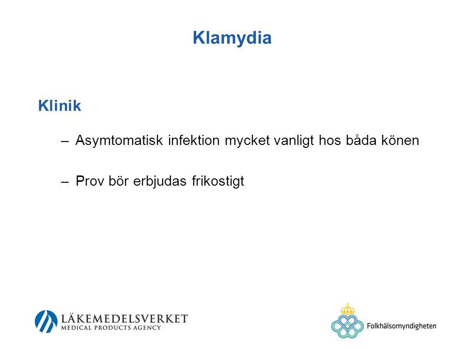 Klamydia Klinik –Asymtomatisk infektion mycket vanligt hos båda könen –Prov bör erbjudas frikostigt