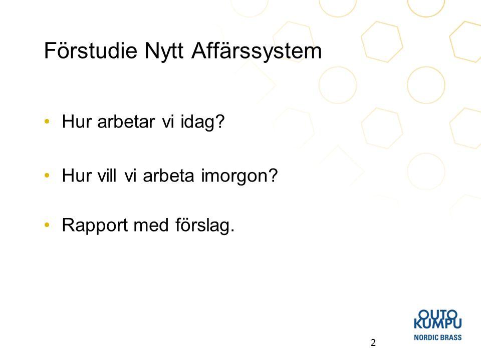 2 Förstudie Nytt Affärssystem Hur arbetar vi idag? Hur vill vi arbeta imorgon? Rapport med förslag.