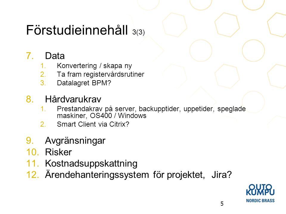 5 Förstudieinnehåll 3(3) 7.Data 1.Konvertering / skapa ny 2.Ta fram registervårdsrutiner 3.Datalagret BPM? 8.Hårdvarukrav 1.Prestandakrav på server, b