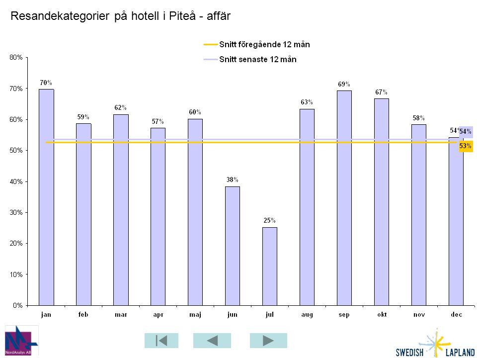 Resandekategorier på hotell i Piteå - affär