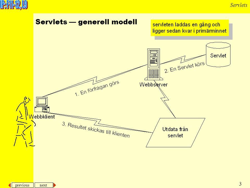 previous next 3 Servlets Servlets — generell modell