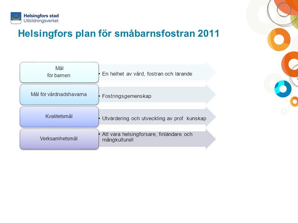 Helsingfors plan för småbarnsfostran 2011 En helhet av vård, fostran och lärande Mål för barnen Fostringsgemenskap Mål för vårdnadshavarna Utvärdering