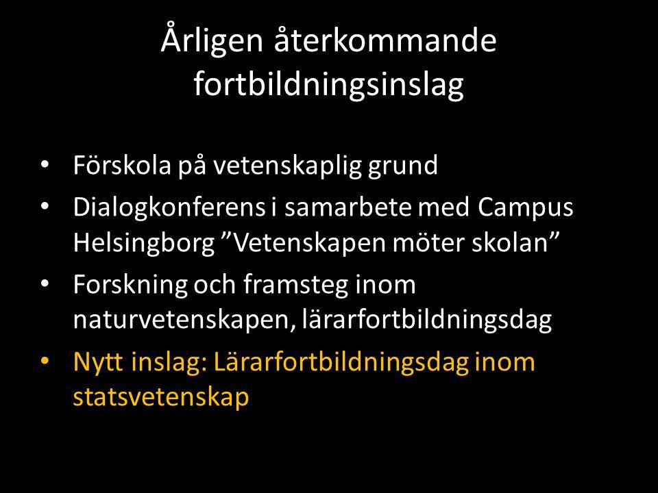 """Årligen återkommande fortbildningsinslag Förskola på vetenskaplig grund Dialogkonferens i samarbete med Campus Helsingborg """"Vetenskapen möter skolan"""""""