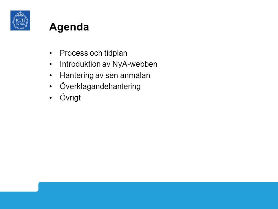 Agenda Process och tidplan Introduktion av NyA-webben Hantering av sen anmälan Överklagandehantering Övrigt