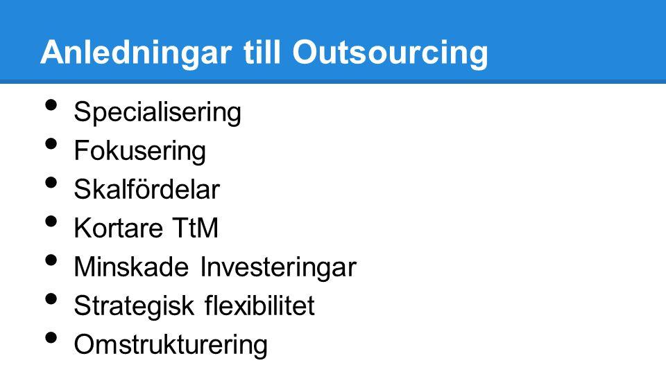Anledningar till Outsourcing Specialisering Fokusering Skalfördelar Kortare TtM Minskade Investeringar Strategisk flexibilitet Omstrukturering