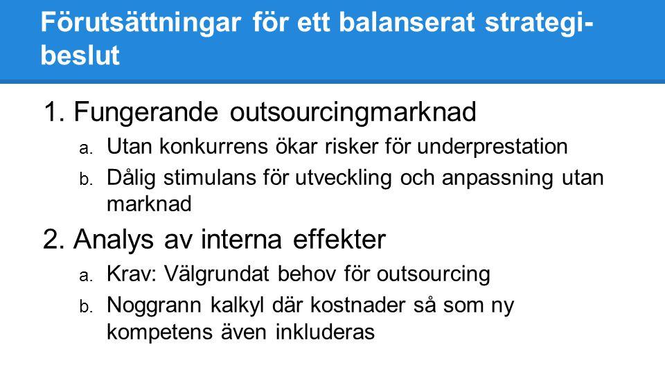 Förutsättningar för ett balanserat strategi- beslut 1.Fungerande outsourcingmarknad a. Utan konkurrens ökar risker för underprestation b. Dålig stimul