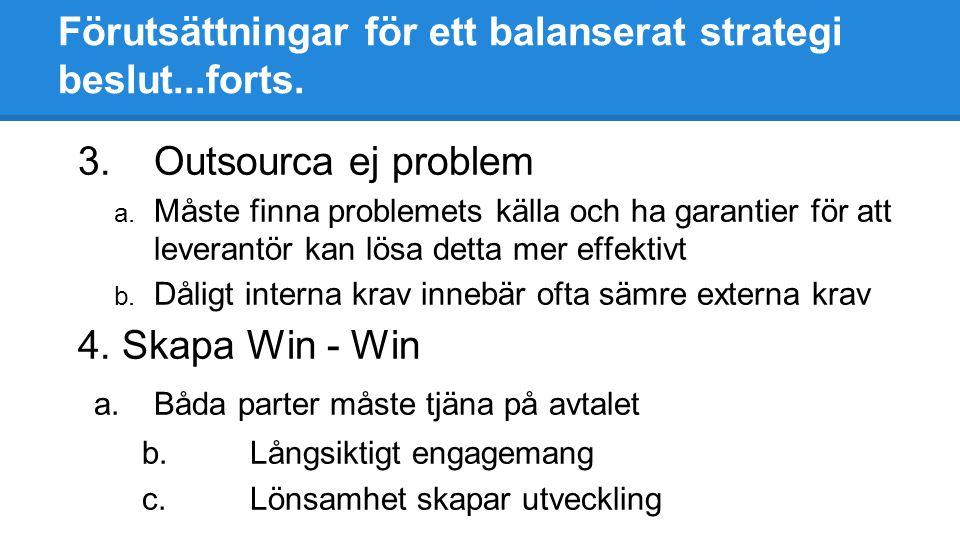 Förutsättningar för ett balanserat strategi beslut...forts. 3.Outsourca ej problem a. Måste finna problemets källa och ha garantier för att leverantör