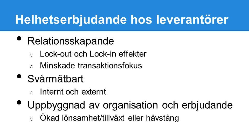 Helhetserbjudande hos leverantörer Relationsskapande o Lock-out och Lock-in effekter o Minskade transaktionsfokus Svårmätbart o Internt och externt Up