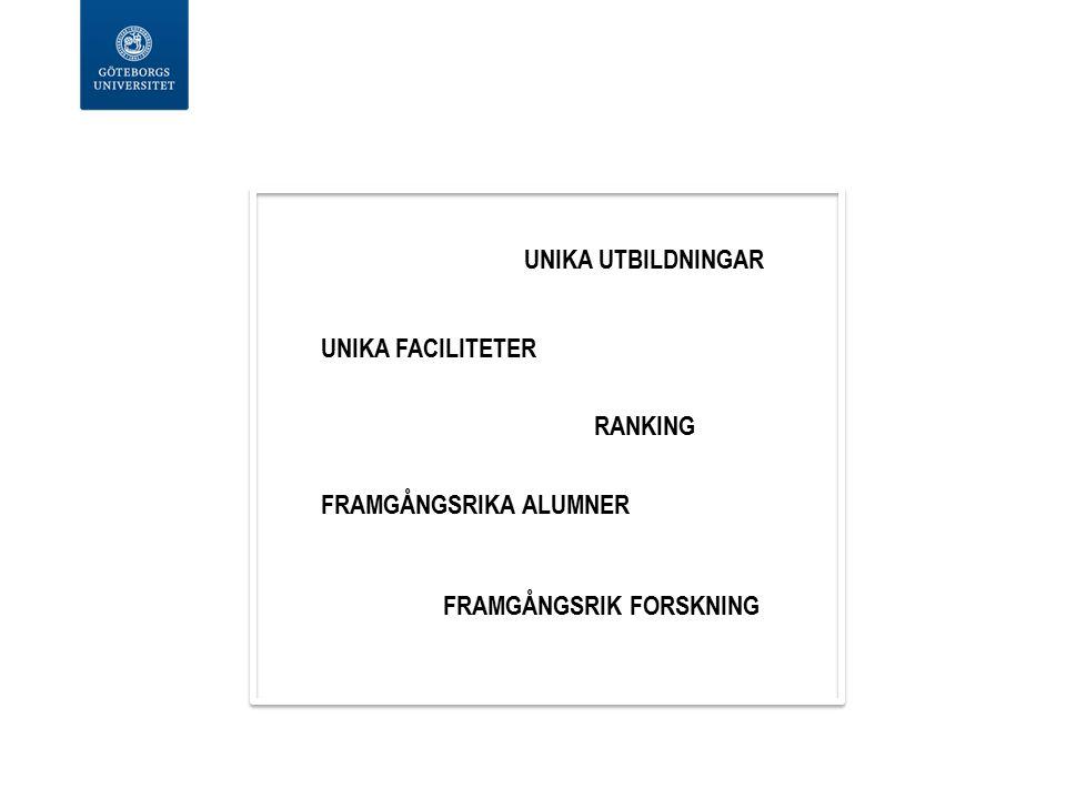 UNIKA UTBILDNINGAR RANKING FRAMGÅNGSRIKA ALUMNER FRAMGÅNGSRIK FORSKNING UNIKA FACILITETER