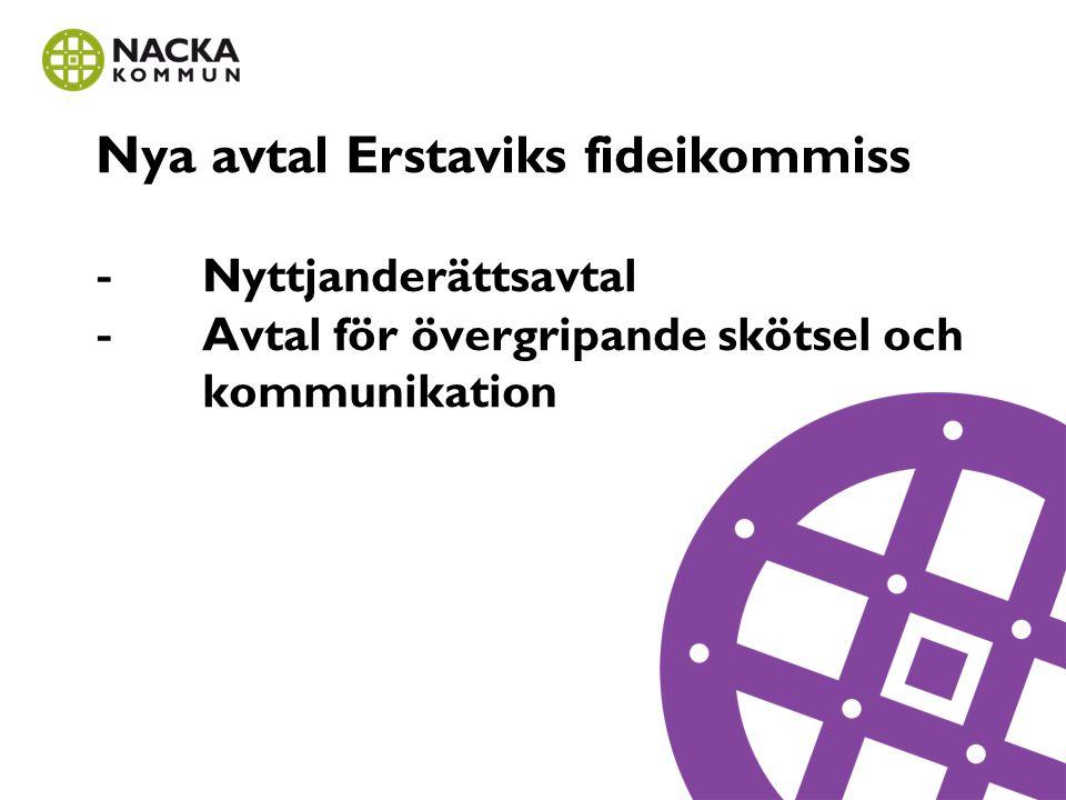 Nya avtal Erstaviks fideikommiss - Nyttjanderättsavtal - Avtal för övergripande skötsel och kommunikation