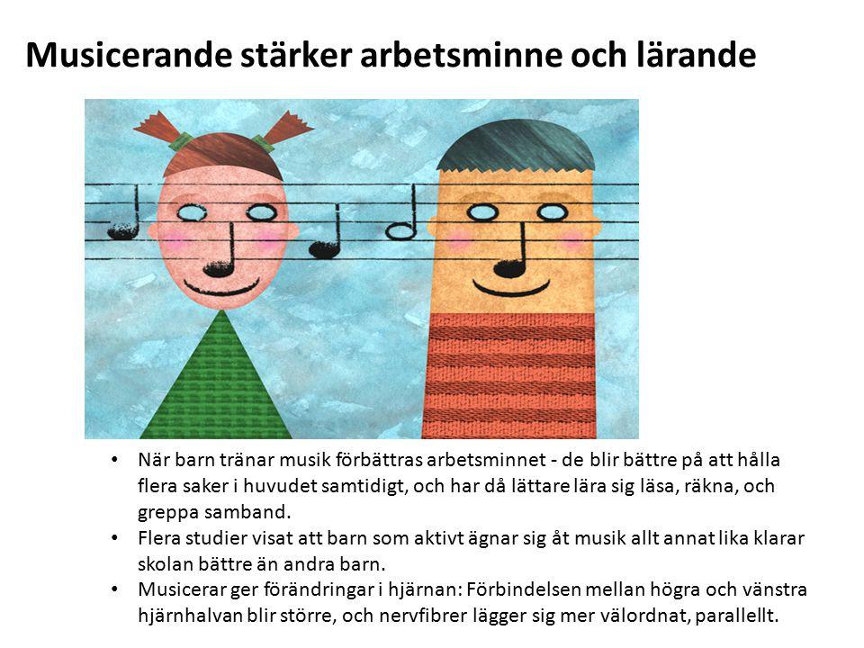 Musicerande stärker arbetsminne och lärande När barn tränar musik förbättras arbetsminnet - de blir bättre på att hålla flera saker i huvudet samtidigt, och har då lättare lära sig läsa, räkna, och greppa samband.