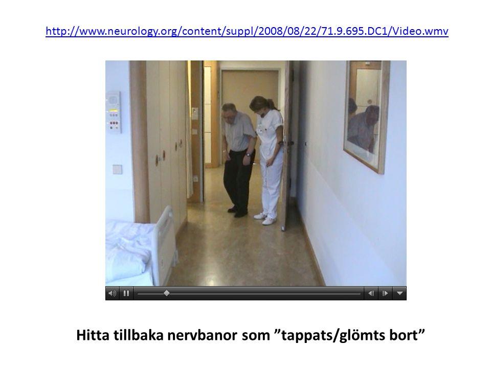 http://www.neurology.org/content/suppl/2008/08/22/71.9.695.DC1/Video.wmv Hitta tillbaka nervbanor som tappats/glömts bort