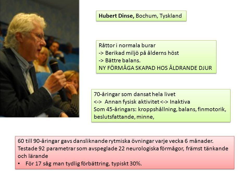Hubert Dinse, Bochum, Tyskland Råttor i normala burar -> Berikad miljö på ålderns höst -> Bättre balans.