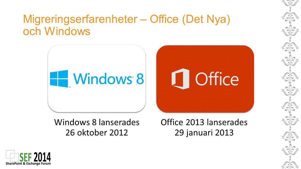 Migreringserfarenheter – Office (Det Nya) och Windows Windows 8 lanserades 26 oktober 2012 Office 2013 lanserades 29 januari 2013