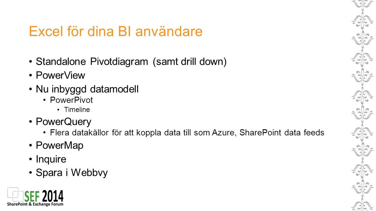 Excel för dina BI användare Standalone Pivotdiagram (samt drill down) PowerView Nu inbyggd datamodell PowerPivot Timeline PowerQuery Flera datakällor