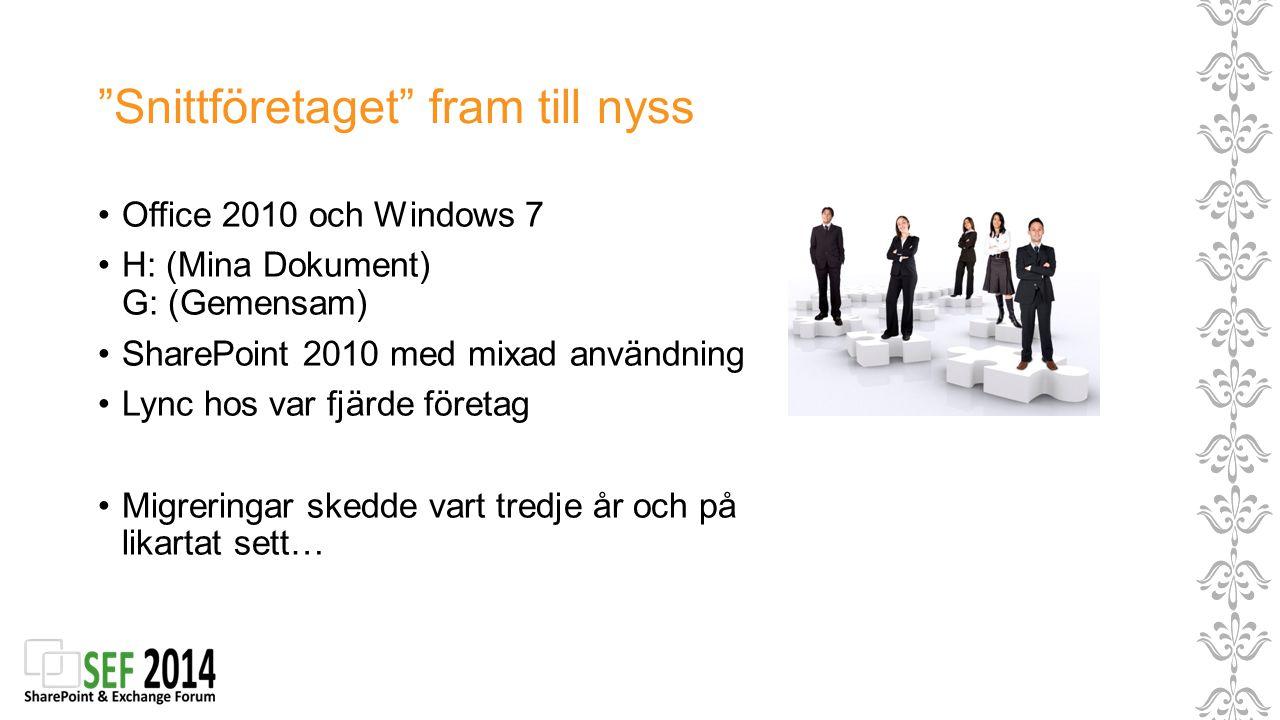 """""""Snittföretaget"""" fram till nyss Office 2010 och Windows 7 H: (Mina Dokument) G: (Gemensam) SharePoint 2010 med mixad användning Lync hos var fjärde fö"""