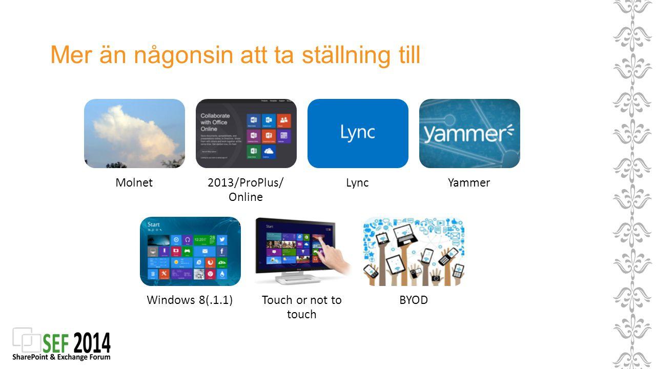 Mer än någonsin att ta ställning till Molnet2013/ProPlus/ Online LyncYammer Windows 8(.1.1)Touch or not to touch BYOD