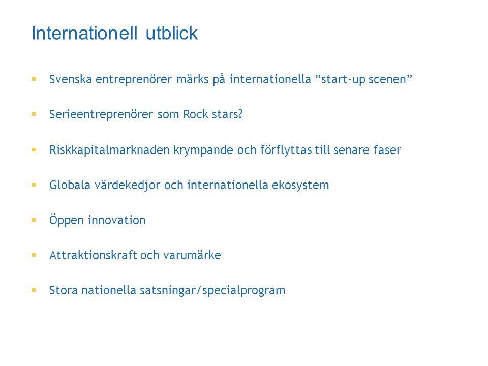 """ Svenska entreprenörer märks på internationella """"start-up scenen""""  Serieentreprenörer som Rock stars?  Riskkapitalmarknaden krympande och förflytta"""
