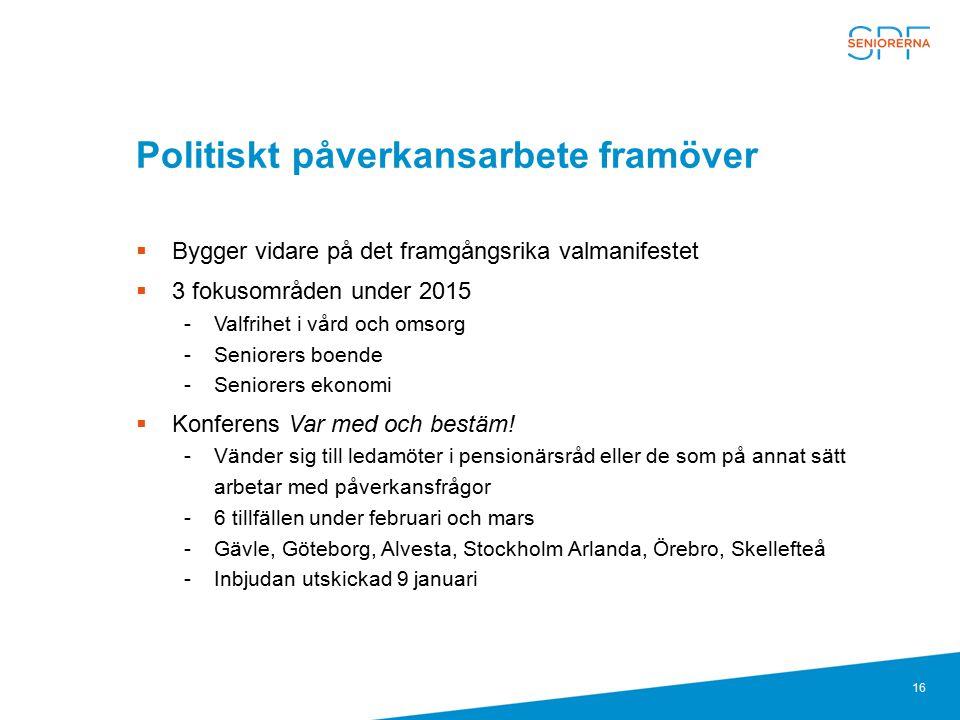 16 Politiskt påverkansarbete framöver  Bygger vidare på det framgångsrika valmanifestet  3 fokusområden under 2015 Valfrihet i vård och omsorg Sen