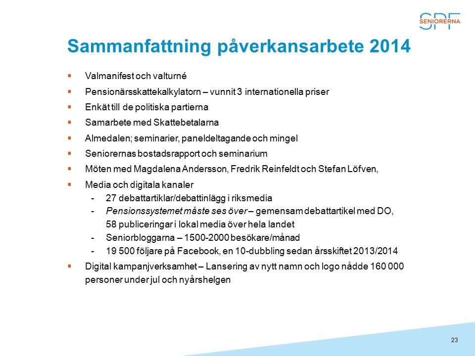 23 Sammanfattning påverkansarbete 2014  Valmanifest och valturné  Pensionärsskattekalkylatorn – vunnit 3 internationella priser  Enkät till de poli