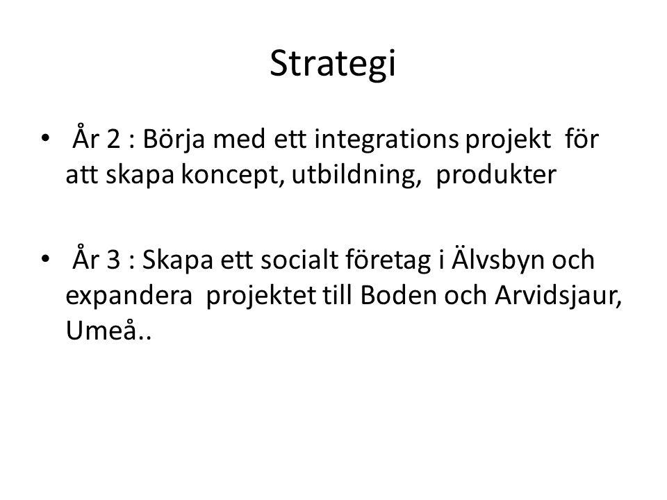 Strategi År 2 : Börja med ett integrations projekt för att skapa koncept, utbildning, produkter År 3 : Skapa ett socialt företag i Älvsbyn och expandera projektet till Boden och Arvidsjaur, Umeå..
