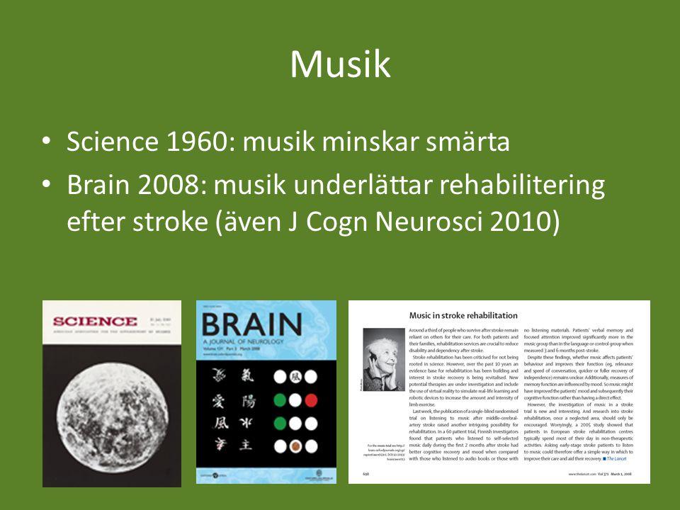 Musik Science 1960: musik minskar smärta Brain 2008: musik underlättar rehabilitering efter stroke (även J Cogn Neurosci 2010)