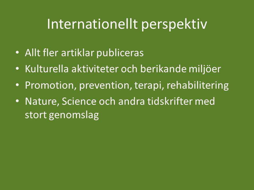 Internationellt perspektiv Allt fler artiklar publiceras Kulturella aktiviteter och berikande miljöer Promotion, prevention, terapi, rehabilitering Nature, Science och andra tidskrifter med stort genomslag
