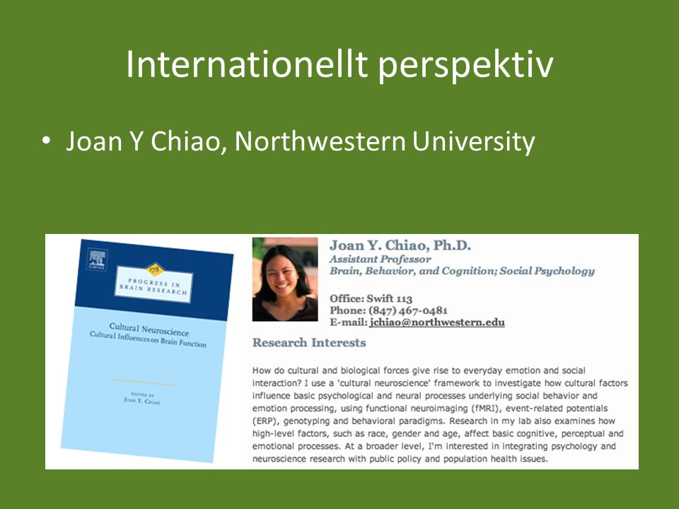 Internationellt perspektiv Joan Y Chiao, Northwestern University