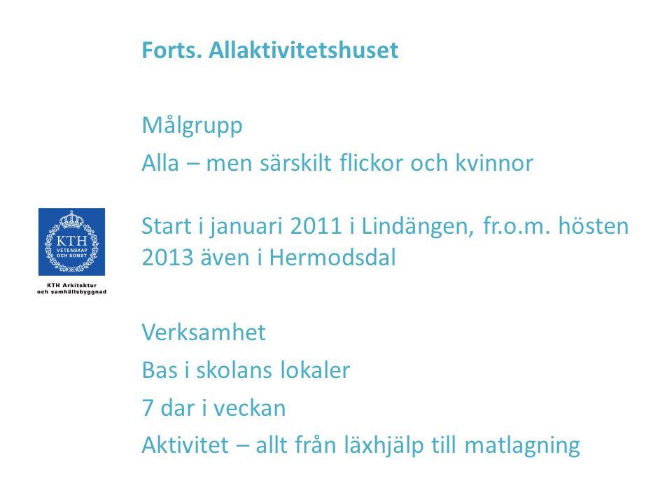 Forts. Allaktivitetshuset Målgrupp Alla – men särskilt flickor och kvinnor Start i januari 2011 i Lindängen, fr.o.m. hösten 2013 även i Hermodsdal Ver