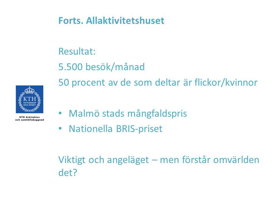 Forts. Allaktivitetshuset Resultat: 5.500 besök/månad 50 procent av de som deltar är flickor/kvinnor Malmö stads mångfaldspris Nationella BRIS-priset