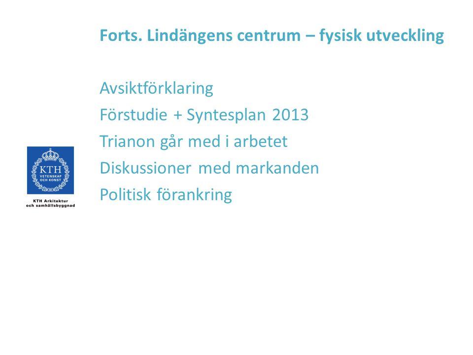 Forts. Lindängens centrum – fysisk utveckling Avsiktförklaring Förstudie + Syntesplan 2013 Trianon går med i arbetet Diskussioner med markanden Politi