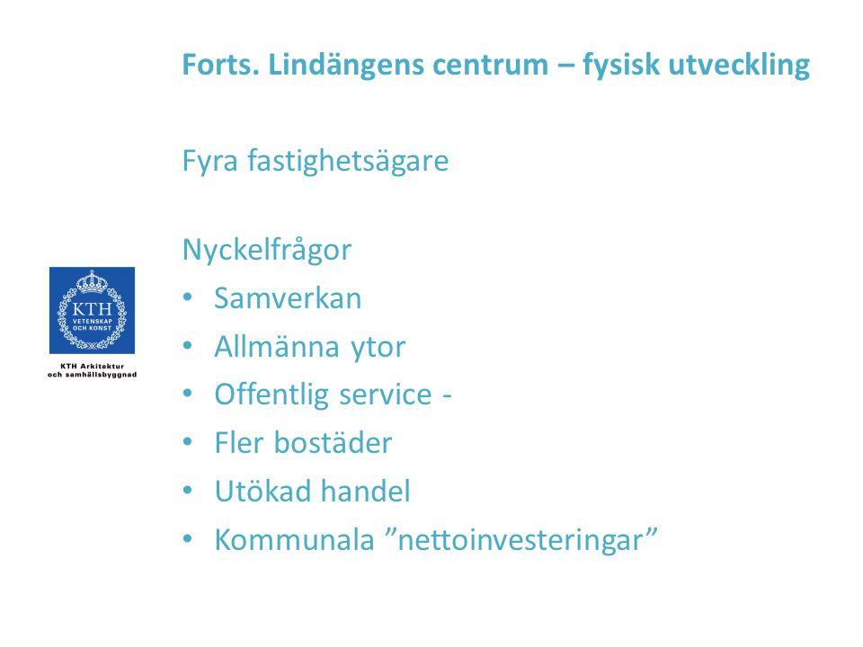 Forts. Lindängens centrum – fysisk utveckling Fyra fastighetsägare Nyckelfrågor Samverkan Allmänna ytor Offentlig service - Fler bostäder Utökad hande