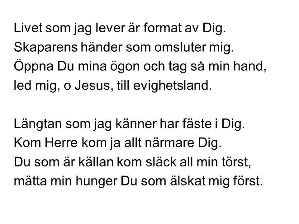 Livet som jag lever är format av Dig. Skaparens händer som omsluter mig. Öppna Du mina ögon och tag så min hand, led mig, o Jesus, till evighetsland.