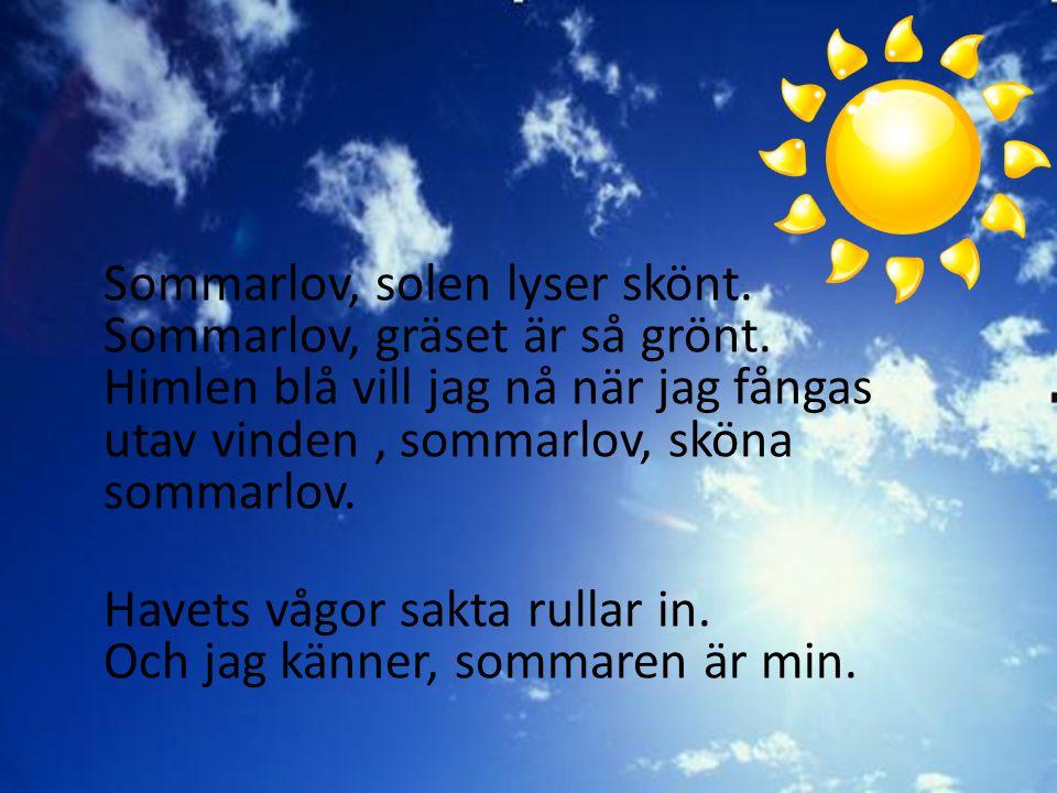 Sommarlov, solen lyser skönt. Sommarlov, gräset är så grönt. Himlen blå vill jag nå när jag fångas utav vinden, sommarlov, sköna sommarlov. Havets våg