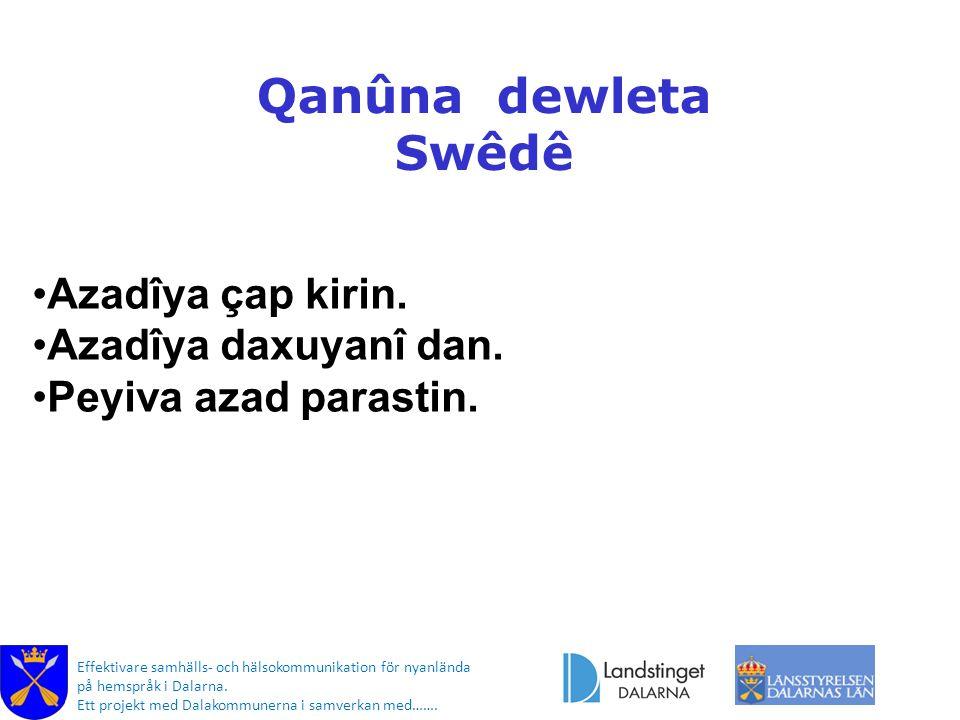 Effektivare samhälls- och hälsokommunikation för nyanlända på hemspråk i Dalarna. Ett projekt med Dalakommunerna i samverkan med……. Qanûna dewleta Swê