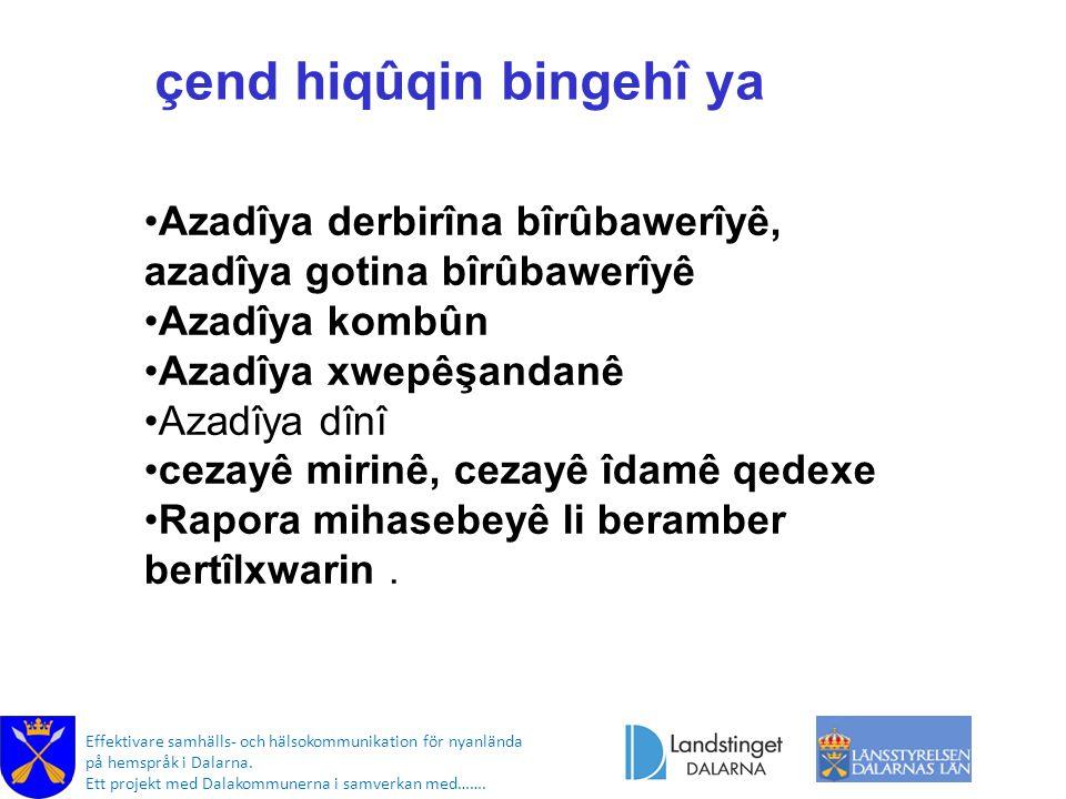 Effektivare samhälls- och hälsokommunikation för nyanlända på hemspråk i Dalarna. Ett projekt med Dalakommunerna i samverkan med……. çend hiqûqin binge