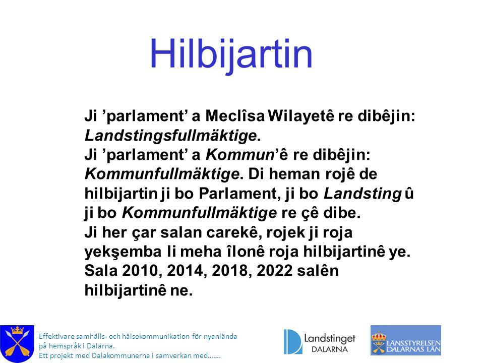 Effektivare samhälls- och hälsokommunikation för nyanlända på hemspråk i Dalarna. Ett projekt med Dalakommunerna i samverkan med……. Hilbijartin Ji 'pa