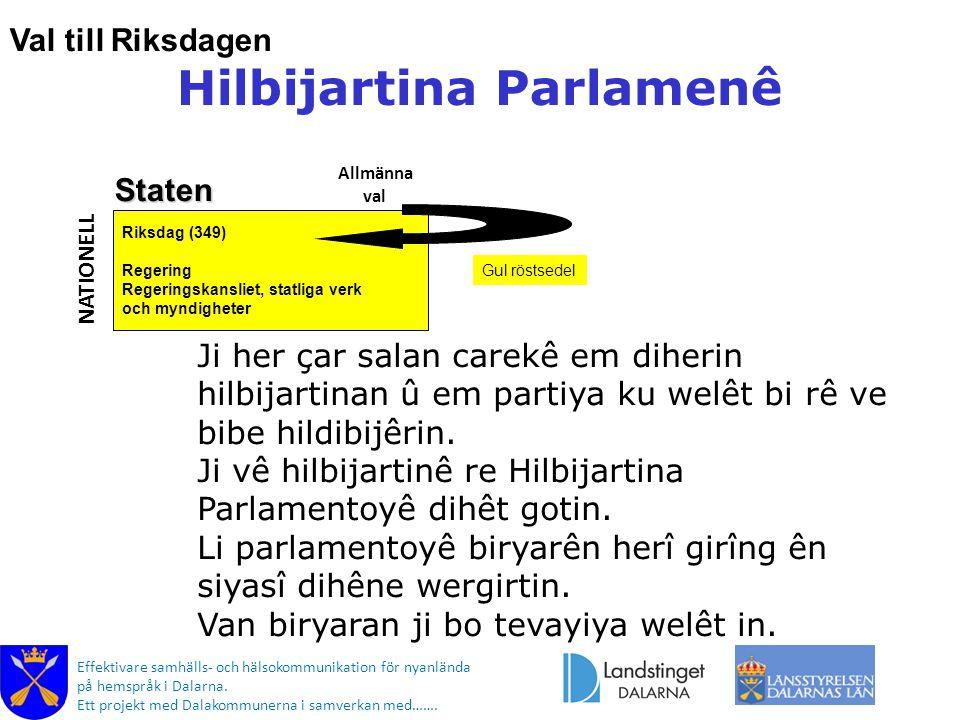 Effektivare samhälls- och hälsokommunikation för nyanlända på hemspråk i Dalarna. Ett projekt med Dalakommunerna i samverkan med……. Riksdag (349) Rege