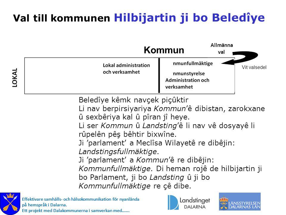 Effektivare samhälls- och hälsokommunikation för nyanlända på hemspråk i Dalarna. Ett projekt med Dalakommunerna i samverkan med……. Val till kommunen