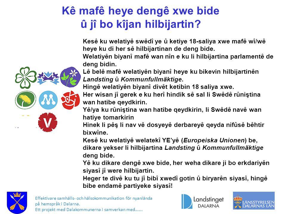 Effektivare samhälls- och hälsokommunikation för nyanlända på hemspråk i Dalarna. Ett projekt med Dalakommunerna i samverkan med……. Kê mafê heye dengê
