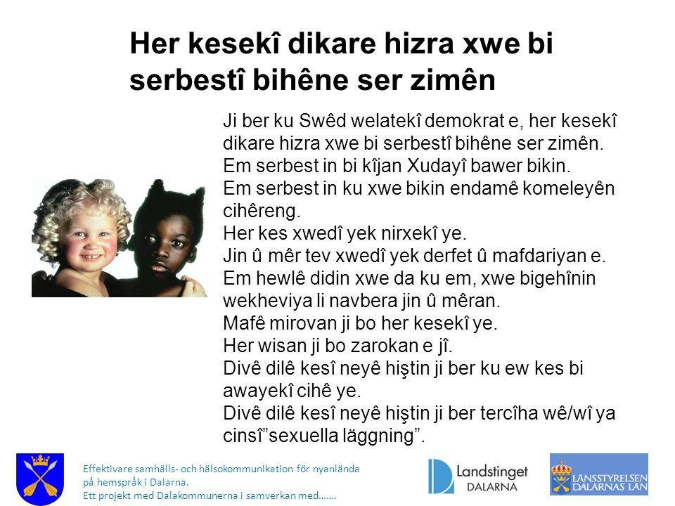 Effektivare samhälls- och hälsokommunikation för nyanlända på hemspråk i Dalarna. Ett projekt med Dalakommunerna i samverkan med……. Her kesekî dikare